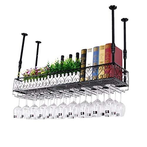 Sucastle Weinglashalter den Kopf gestellt Weinregal einfache Art-Eisen-hängende Weinglas Rack-Decken-Dekoration Regal for Bars Restaurants Küche (Size : 100X25CM)