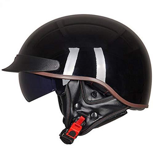 Medio Casco para Casco de Motocicleta Retro Cascos de Proa, Vintage Vintage Cruiser Jet Helmet, Visera Solar integrada, Certificado por Dot, Casco Abierto para Hombres y Mujeres con Gafas