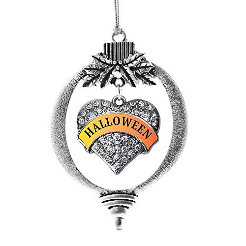 Inspired Silver - Halloween Charm Ornament - Silver Pave Heart Charm Holiday Ornaments with Cubic Zirconia Jewelry