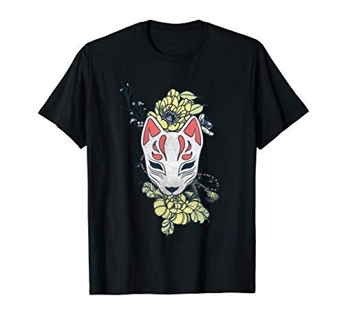 El Espíritu del Zorro Japonés Kitsune máscara disfrazada con Camiseta
