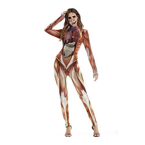Bdclr Disfraces De Rendimiento De La Etapa De Halloween Disfraces Divertidos Mono De Impresión De Estructura del Cuerpo Humano Realista,L/XL
