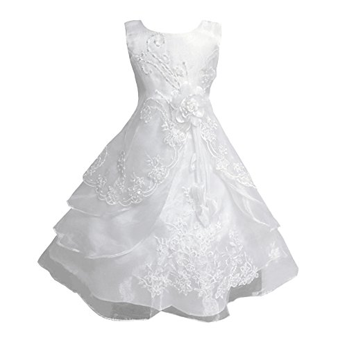 LSERVER Enfant Filles Robe Mariage Soirée Princesse Demoiselle Bustier Fleur Jupe Longue, Blanc, 12-14 ans(Taille fabricant: 160)