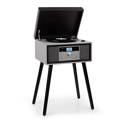 auna Mary Ann Plattenspieler, CD-Player Bluetooth, USB-Anschluss UKW-Radio Stereolautsprecher 2X 5W RMS, 33, 45 und 78 U/min 24W max., Fernbedienung schwarz / grau