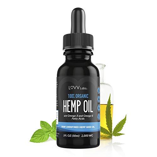 LUVV Drops Organic Hemp Oil - Calming Vegan Omega 3 & 6 Fatty Acids - Cold-Pressed, Plant-Based Extract - Naturally...