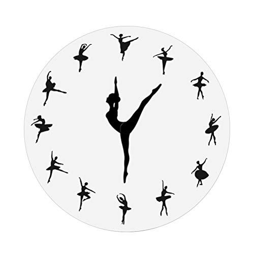VOSAREA 1 Unidades Encantadora Bailarina Reloj de Pared Reloj Grande Ballet Dancing Girl Aguja Mano Aguja Reloj de Pared Sala de Estar Decoración para el hogar