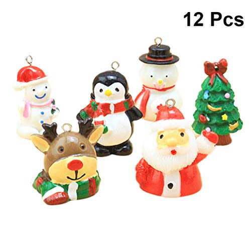 Heallily - Figura Decorativa de Resina en Miniatura para Navidad, 12 Unidades, diseño de Dibujos Animados, Calendario de adviento, decoración de casa de muñecas
