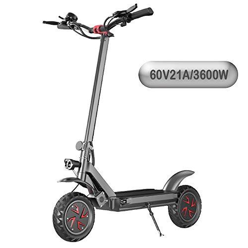 SJAPEX Monopattino Elettrico Pieghevole per Adulti, Urban E-Scooter E-Scooter Bici Carico Massimo 150 kg, 10 Pollici 70 Km/H, Batteria al Litio 60V-21AH-60KM, 3600W Dual Motor Drive