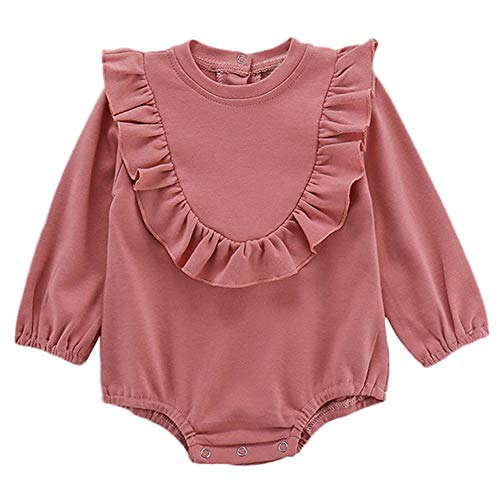 HEETEY Baby Mädchen Junge Mode lässig Winter Langarm Einfarbig Body Outfits Einfarbig Kleine Fliegende Ärmel Spielanzug Kleidung