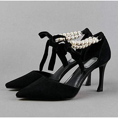 ZHZNVX schuhe de damen Suede Spring Comfort Heels Stiletto Heel schwarz