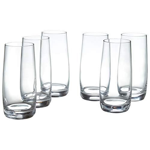 Amazon Brand – Stone & Beam Traditional HighBall Drinking Glass, 16-Ounce, Set of 6