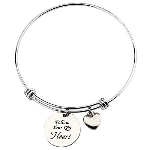 Ensianth segui il tuo cuore regolabile braccialetto bracciale con cuore Graduation Gift