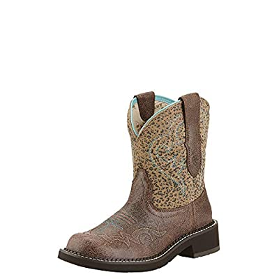 Ariat Women's Fatbaby Heritage Harmony Western Cowboy Boot, Crackled Bay/Mini Leopard, 7.5 M US