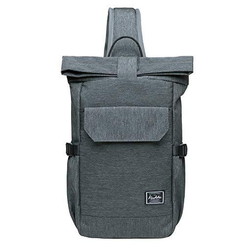KAUKKO Canvas Messenger Bag Cross Body Shoulder Sling Backpack Travel Hiking Chest Bag (F11GREYGREEN)