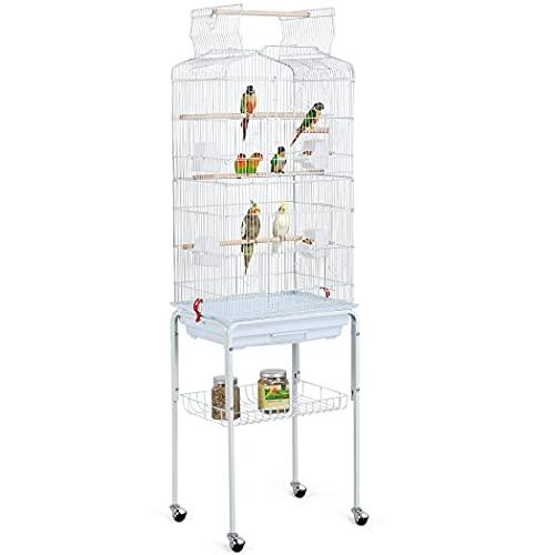 Yaheetech XXL vogelkooi vogelkooi met vrijzitplaats en accessoires met standaard wit