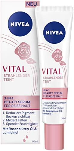 NIVEA Vital Strahlender Teint 3-in-1 Beauty Serum für reife Haut (40 ml), intensive Feuchtigkeitspflege sichtbar reduzierte Pigmentflecken, Serum mit straffendem Effekt