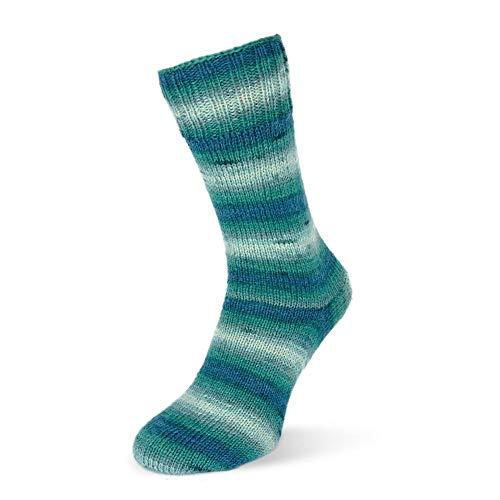 Rellana Flotte Socke Degradè 4-fädige Sockenwolle Mod. 2019, 75% Schurwolle/25% Polyamid (1462 Jeans-Petrol)