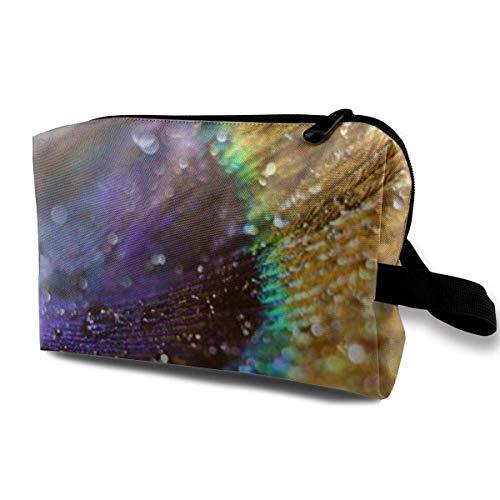 Bolsa de maquillaje para cosméticos, una gota de agua sobre una pluma de pavo real, bolsa de almacenamiento multifuncional para kit de viaje
