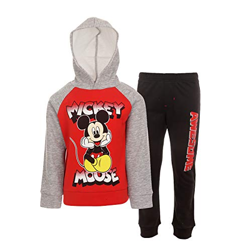 Disney Mickey Mouse Toddler Boys Fleece Pullover Hoodie and Pants Set Grey 5T