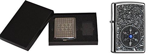 Zippo 17115Star Blue Center im Sigarette Custodia Regalo Set/Cigarette Case Gift Set Tempesta Accendino, Cromo, Argento, 15x 10x 5cm
