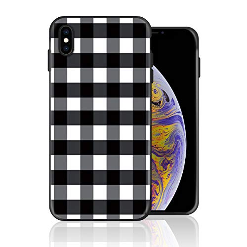 Case for iPhone 11, Buffalo Plaid Black and White Silicone Gel Rubber Phone Case Shockproof Anti-Scratch Full Body Protective Case Cover