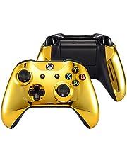 eXtremeRate Carcasa para Xbox One Funda Delantera con Agarre Izquierdo Derecho Protectora de la Placa Brillante Cubierta Antideslizante Asa Mango para Mando de Xbox One S/X-Model 1708(Oro Cromado)