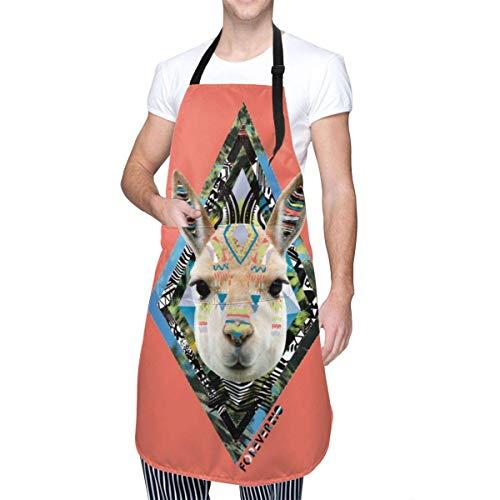 Lawenp Delantal Ajustable con Cabeza de Alpaca Resistente a Las Gotas de Agua con 2 Bolsillos para cocinar Delantales de Cocina para Mujeres Hombres Chef, Negro