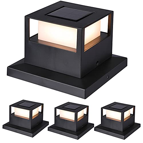 MAGGIFT 4 Pack Solar Post Lights, 20 Lumen Outdoor Warm White High Brightness SMD LED Lighting Solar Powered Cap Light, Fits 4x4, 5x5 or 6x6 Wooden Posts, Waterproof for Yard Fence Deck or Patio
