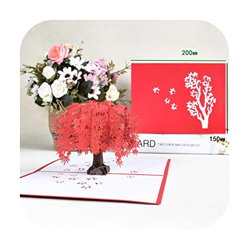 Christmas Greeting Card: Pop-Up Card Flowers Mother's Day Wedding Anniversary Greeting Cards 3D Red Maple