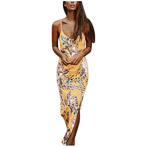 Find Discount Womens Summer Dress Sexy Sleeveless Sling Floral Print Maxi Dress V Neck Split Vintage...