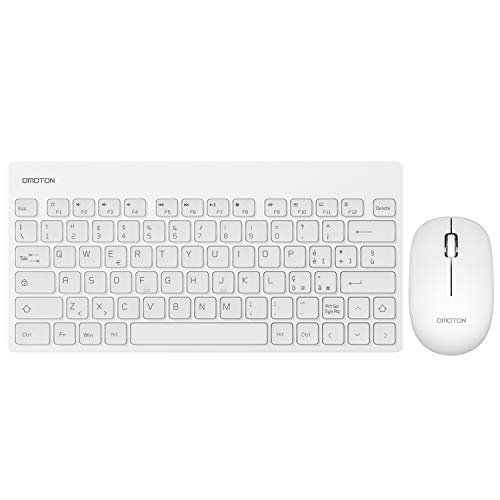 OMOTON Set Tastiera e Mouse Wireless per PC Windows XP/7/8/10/Vista, Mini Tastiera Italiana e Mouse Senza Fili con 2,4G USB Ricevitore per Desktop/Laptop/Notebook, Layout Italiano, Bianco