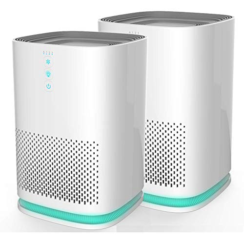 Medify MA-14W2 Medical Grade Filtration H13 HEPA Air Purifier for 200 Sq. Ft. (99.9%) Allergies, dust, Pollen, Perfect for Office, bedrooms, dorms and Nurseries - White, 2-Pack