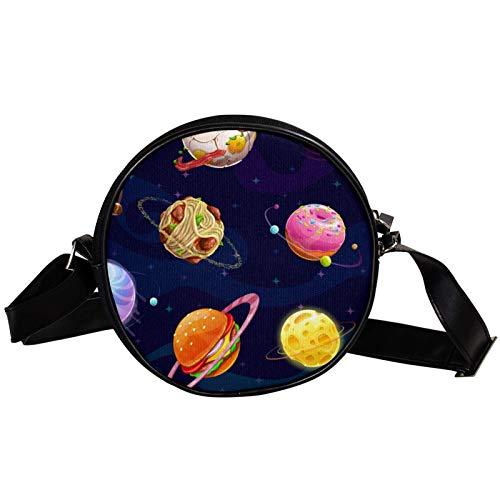 Runde Crossbody Tasche Kleine Handtasche Damen Mode Schultertaschen Messenger Bag Canvas Tasche Hüfttasche Zubehör für Frauen - Hamburg Donut Planeten Nudeln Fleischball