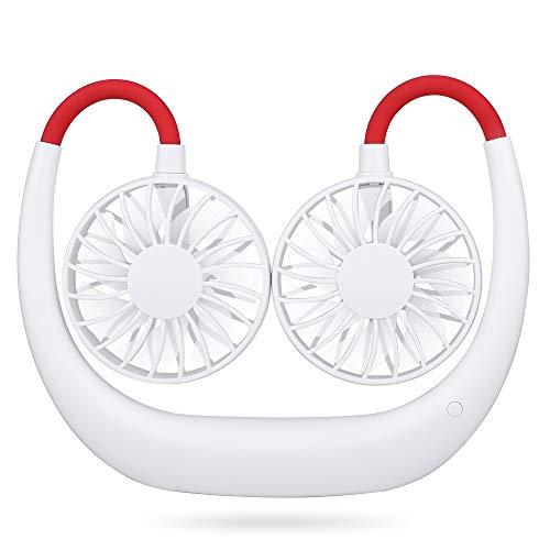 Simpeak Ventilator USB Leise 3 Speed Betrieb, Mini Faul Fan Hängender Halsfächer Lüfter für Einkaufen/Camping/Picknick/Sporttreffen/Ausflüge - Weiß Rot