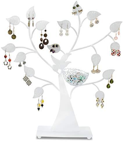 LAUBLUST Schmuckständer im Schmuckbaum Design - ca. 43x39x8 cm, Weiß - Dekorativer Metall Schmuck-Halter Ornament Blätter & Ring-Nest   Schmuck-Aufbewahrung   Ohrring-Ständer   Ketten-Halter