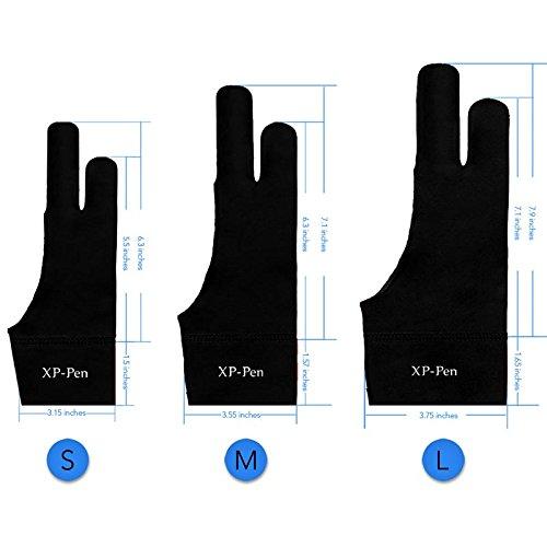 XP-PEN Elastisch Lycra Antifouling Handschuh für Grafiktablett/Pen Bildschirm/Leuchtkasten (Geeignet für rechts & Links) (L)