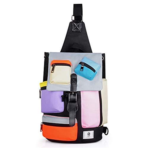 Faus Koco Bolso Bandolera Casual De Siete Colores De Moda con Múltiples Bolsillos USB Externo Y Auriculares Boca Hombres Y Mujeres Bolsa De Baúl Bolsa De Mensajero Oxford Tela Impermeable