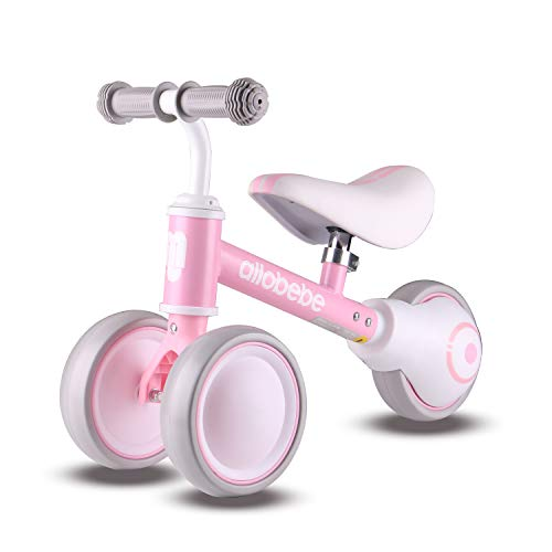 allobebe Baby Balance Bike, Cute Toddler Bikes 12-36 Months Gifts for 1 Year Old Girl Bike to Train Baby from Standing to Walking with Adjustable Seat Silent & Soft 3 Wheels