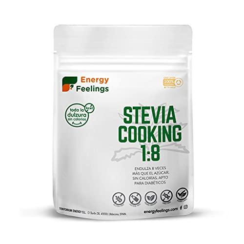 Energy Feelings Stevia Cooking 1:8, Eritritol con Stevia en Polvo, Edulcorante y Endulzante Natural, Sin Azúcar, Sin Gluten, Vegano, Edulcorante para Cocinar, 200g