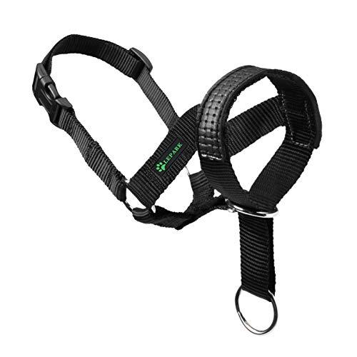 ILEPARK Hundehalfter mit Leder Dekoration Halfterhalsband Für Hunde der Ziehen verhindert Einstellbar Hundehalfter(S, Schwarz)