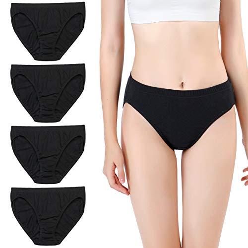 wirarpa Unterhose Damen 100% Baumwolle Midislip Breites Bein Unterwäsche 4er Pack Hohe Taille Slips Schwarz 54