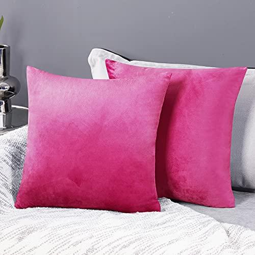 Deconovo Fundas para Cojines de Almohada del Sofá Cubierta Suave Decorativa Protector para Hogar 2 Piezas 45 x 45 cm Fucsia