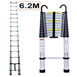 6.2M/20.35ft Aluminium Extension Telescopic Ladder Multi-Purpose Foldable Ladders and Roof Hook Portable Space-Saving EN 131 Certificate Max Load 150kg/330lb for Attic Loft