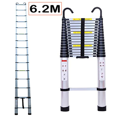6.2M/20.35ft Aluminium Extension Telescopic Ladder Multi-Purpose Foldable...