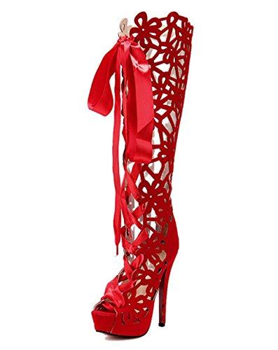 Dayiss Damen Loch Langschaftstiefel hoch Overknee Stiefel Sandalen Party Schuhe (EU38.5=Hersteller Gr. 39, Rot)