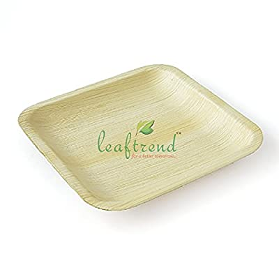 Leaftrend - Ecofriendly disposable palm leaf plates, wedding and party plates -Square plate