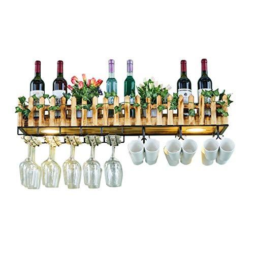 POETRY Estante para vinos Bar de Restaurante de Madera Europea al revés Estantes para Copas Colgantes en la Pared Estantes para Vino Estante Soportes montados en la Pared con lámparas Estantes para
