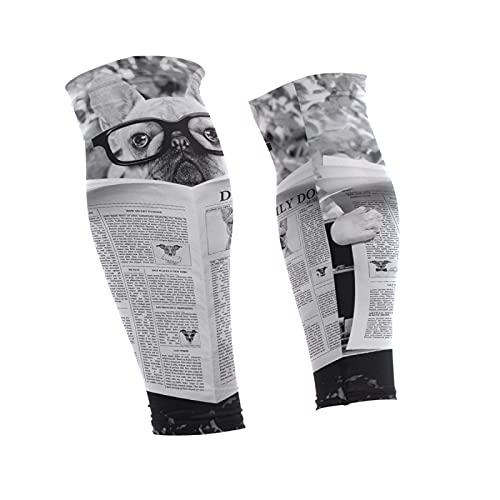 Oyihfvs French Bulldog Reading Newspaper 1 Pair Long Cooling Leg Knee Sleeve, Non Slip Warmer Uv Brace Compression Support Cover for Running Basketball Football Cycling