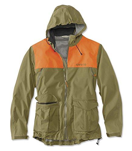 Orvis Men's Toughshell Waterproof Upland Jacket, Olive/Blaze, Xx Large