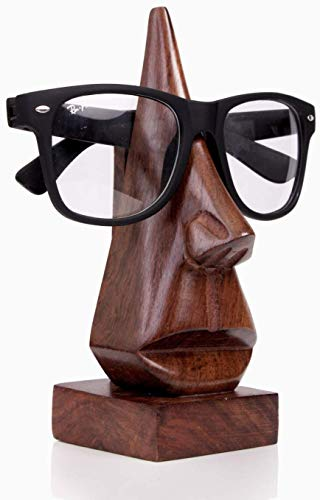 Christmas Gifts Quirky Handmade Nose Shaped Wooden Decorative Spectacle/Reading Glass Holder/Stand by Store Indya