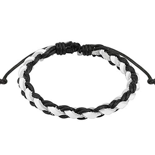 Paula & Fritz Black S & W due tono cordoncino di cuoio intrecciato braccialetto (bianco SL0184K